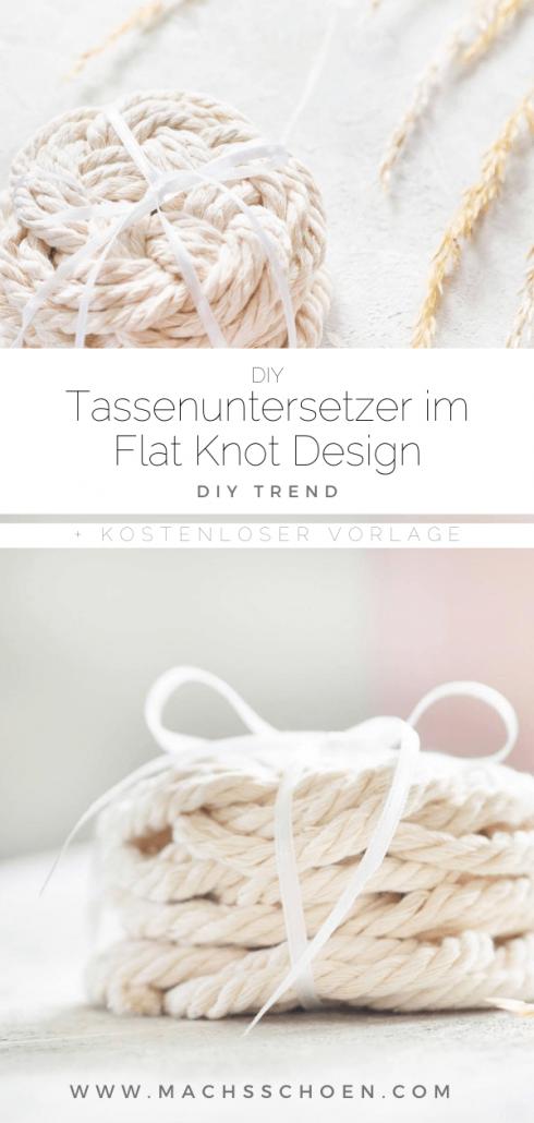 Untersetzer im Flat Knot Design einfach selber machen. Schick und modern und pflegeleicht. Du wirst sie lieben!