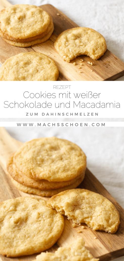 Leckeres Cookie Rezept mit weißer Schokolade und Macadamia. Super einfach und himmlisch gut.