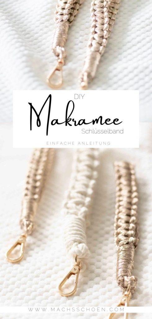 einfaches Anfänger Makramee Projekt. ein schönes selbst geknotetes Schlüsselband.