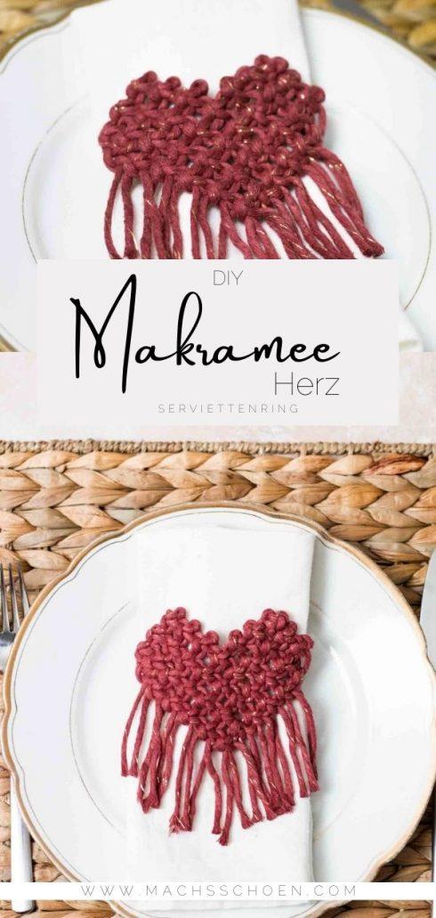 Einfache Makramee Anleitung für ein Makramee Herz / Serviettenring zum valentinstag oder zur Hochzeit.